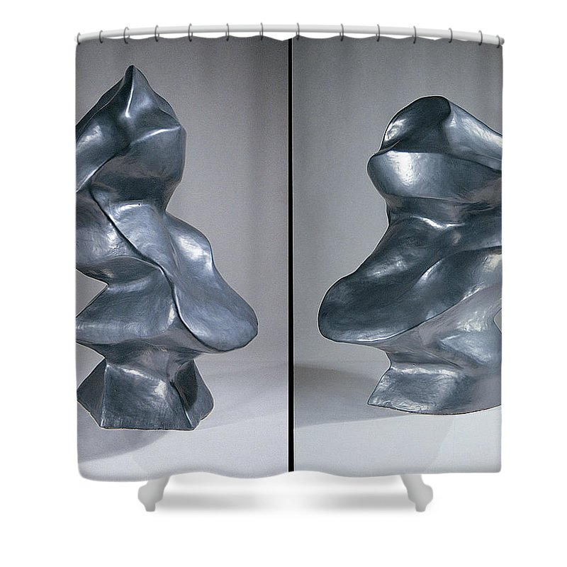 Shift Shower Curtain featuring the sculpture Shift Two Views by Jason Messinger