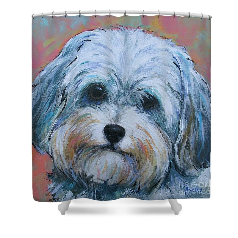 Dog Shower Curtain featuring the painting Shih Tzu by Vickie Fears