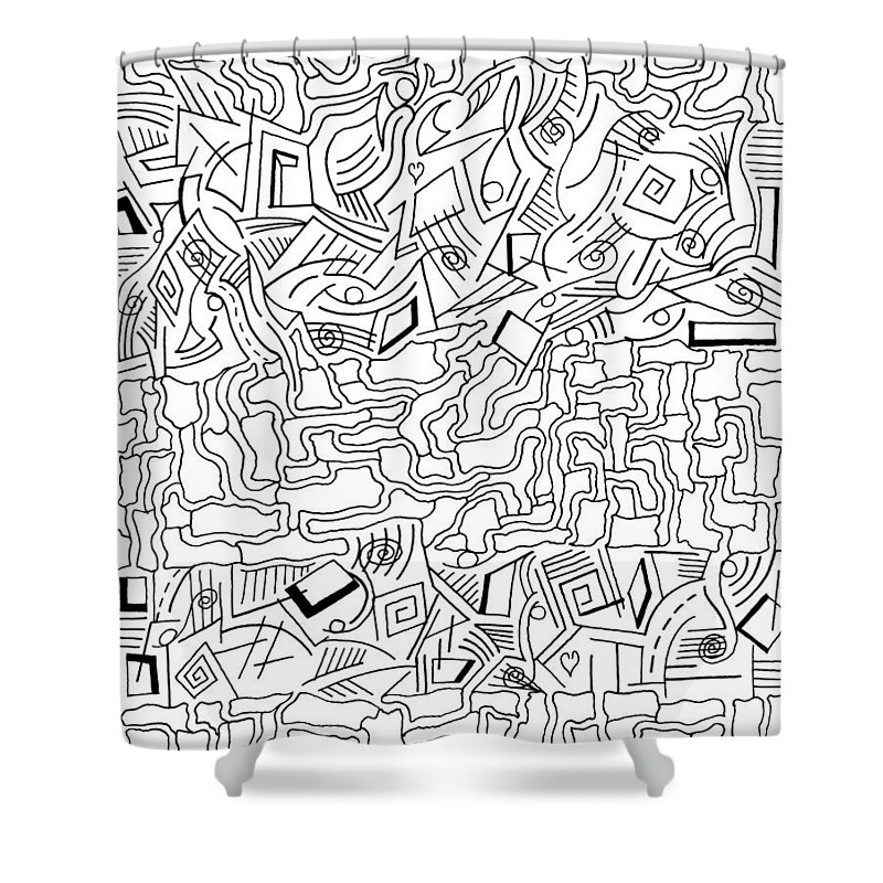 Mazes Shower Curtain featuring the drawing shikShana by Steven Natanson