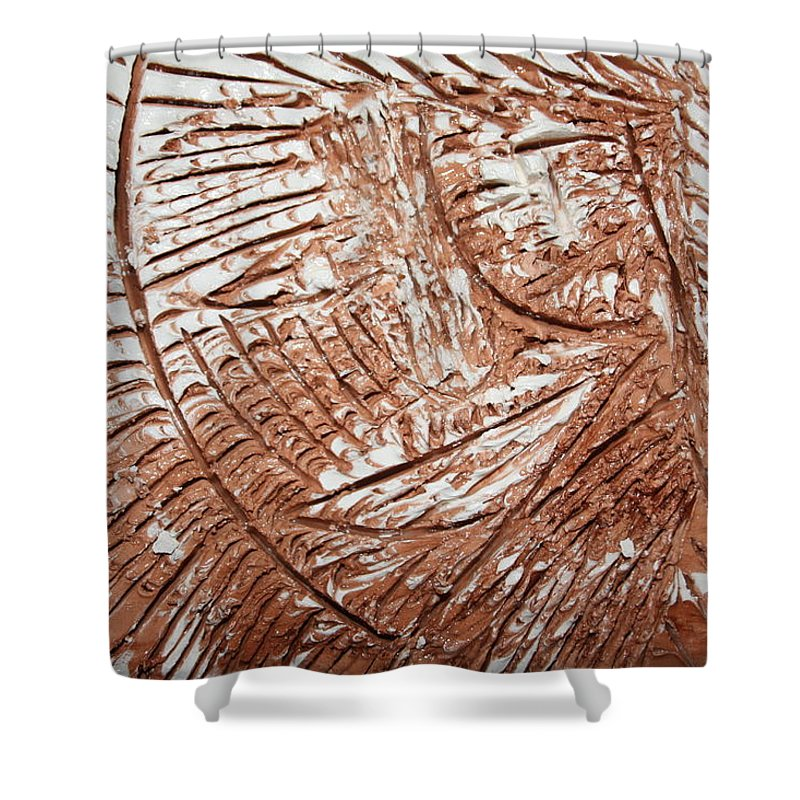Jesus Shower Curtain featuring the ceramic art Shining Sun - Tile by Gloria Ssali