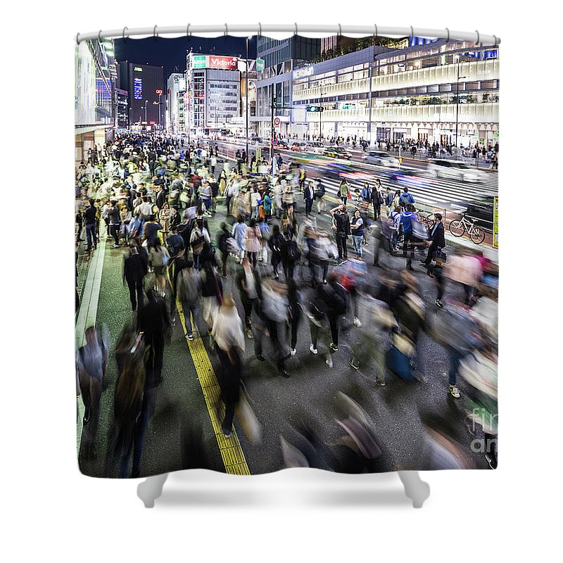 Capital Cities Shower Curtain featuring the photograph Shinjuku People Rush by Didier Marti