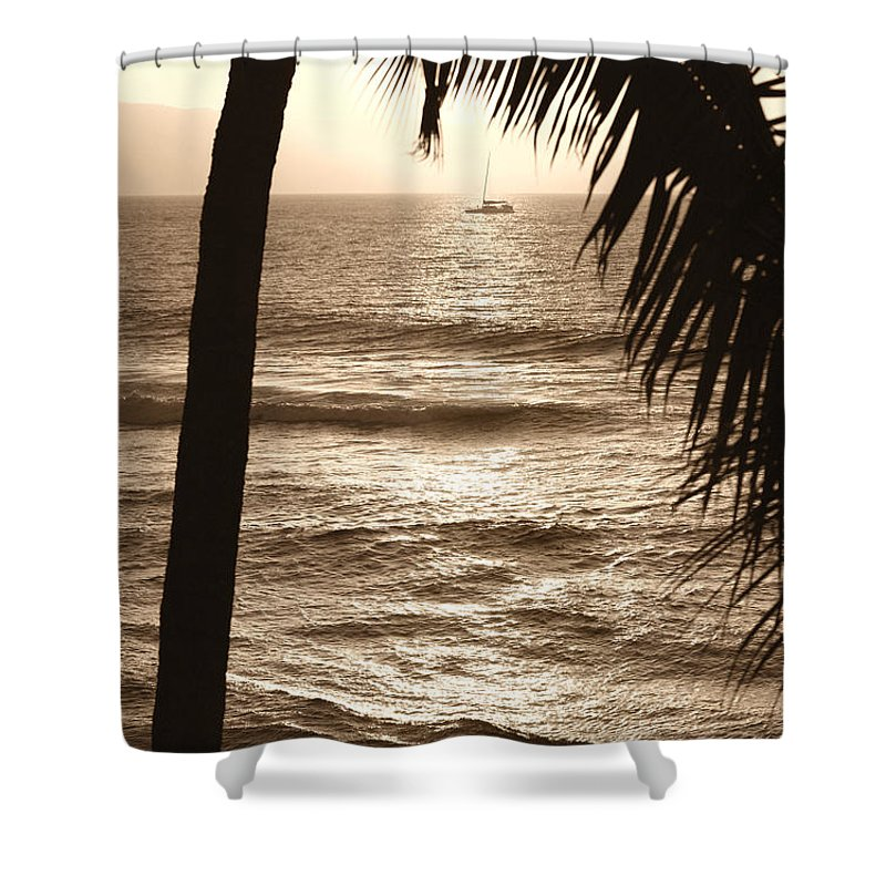 Hawaii Shower Curtain featuring the photograph Ship In Sunset by Marilyn Hunt