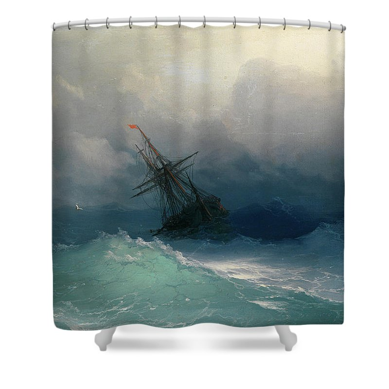 Ivan Konstantinovich Aivazovsky; Ship On Stormy Seas Shower Curtain featuring the painting Ship On Stormy Seas by MotionAge Designs