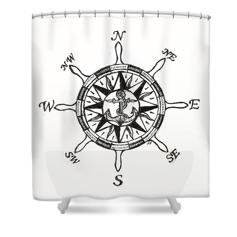 Ship Shower Curtain Featuring The Drawing Wheel Compass By Shane Silva