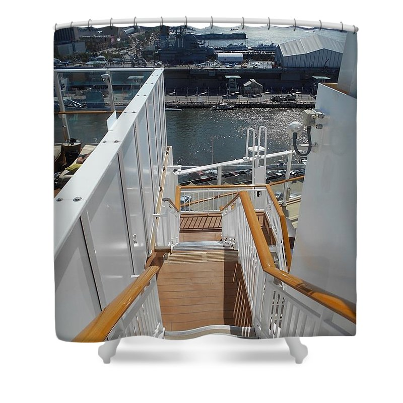 Shipboard Stairways Shower Curtain featuring the photograph Shipboard Stairways by Carolyn Quinn