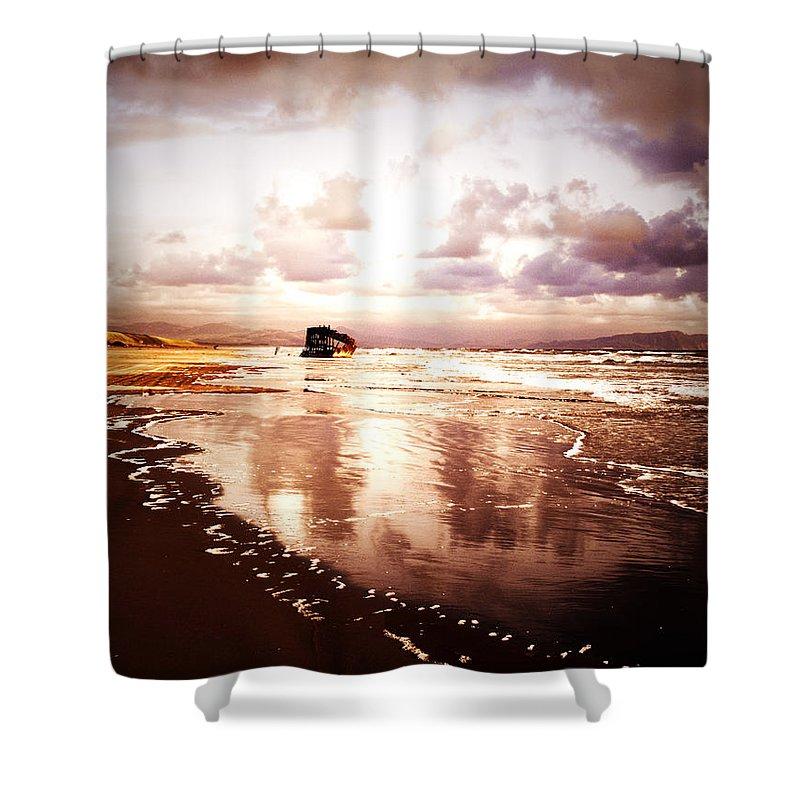 Ocean Shower Curtain featuring the photograph Shipwrecked 2 by Tara Turner