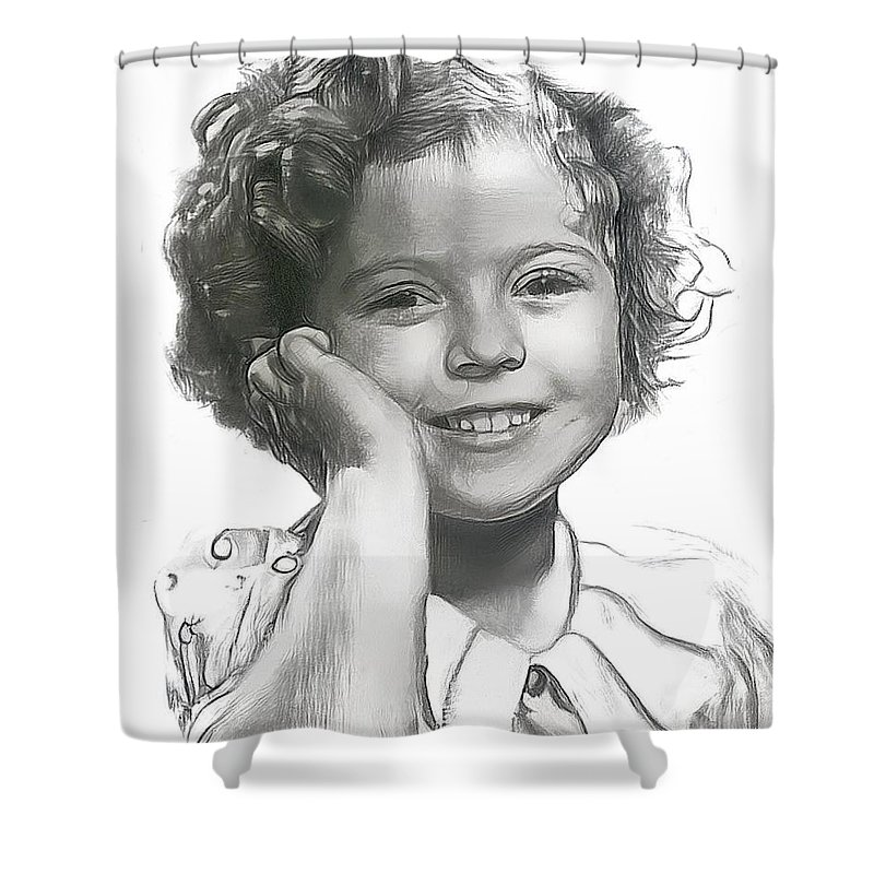 Shirley Temple Shower Curtain featuring the drawing Shirley Temple by Wayne Pascall