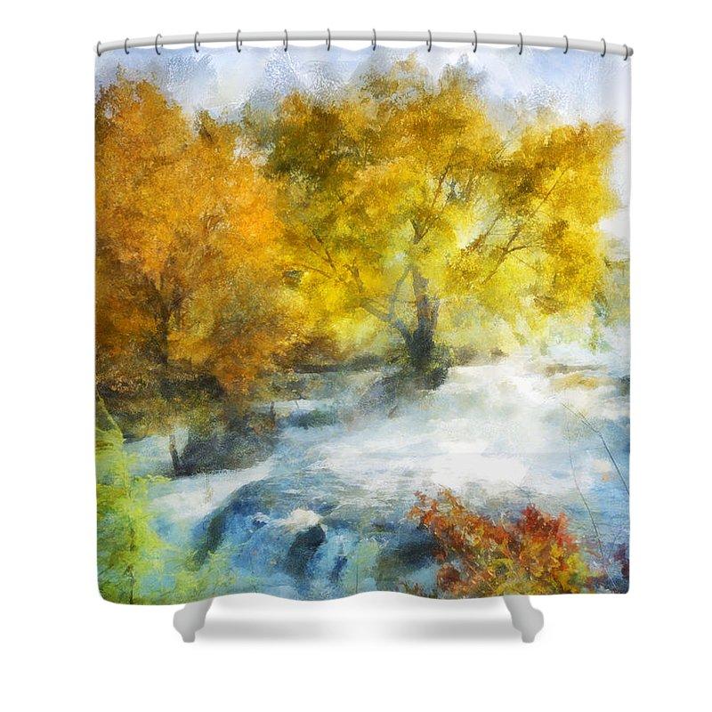 Falls Shower Curtain featuring the digital art Shohola Falls Autumn by Francesa Miller
