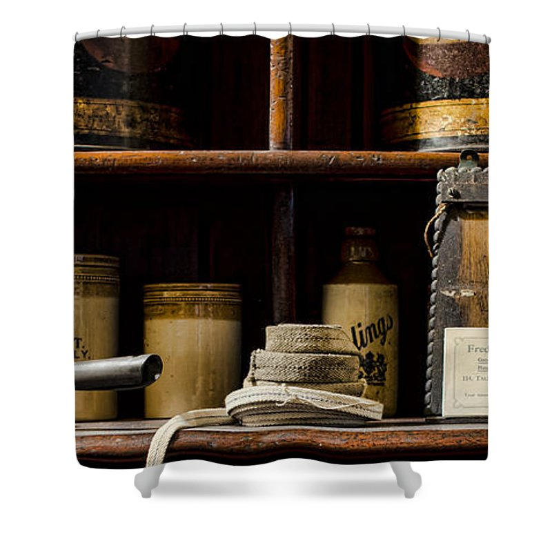 Shop Shower Curtain featuring the photograph Shop Counter by Heather Applegate