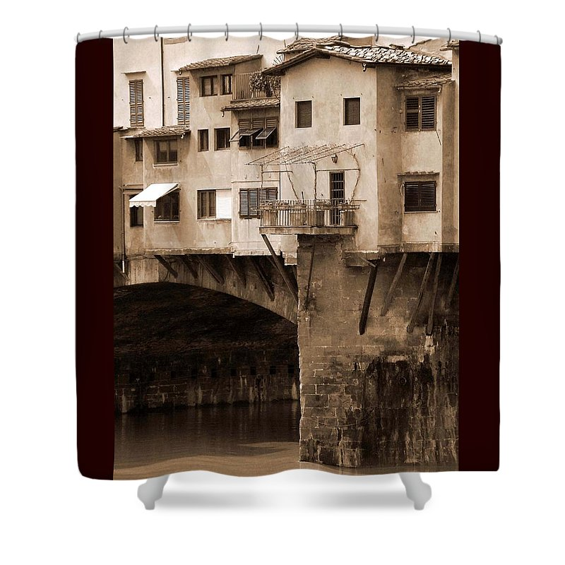 Shops Shower Curtain featuring the photograph Shops On The Ponte Vecchio by Donna Corless