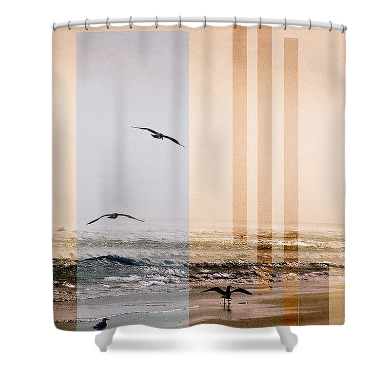 Abstract Shower Curtain featuring the photograph Shore Collage by Steve Karol