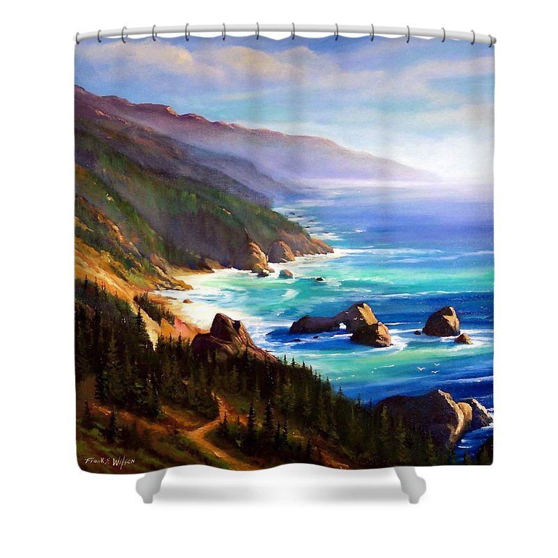 Seascape Shower Curtain featuring the painting Shore Trail by Frank Wilson