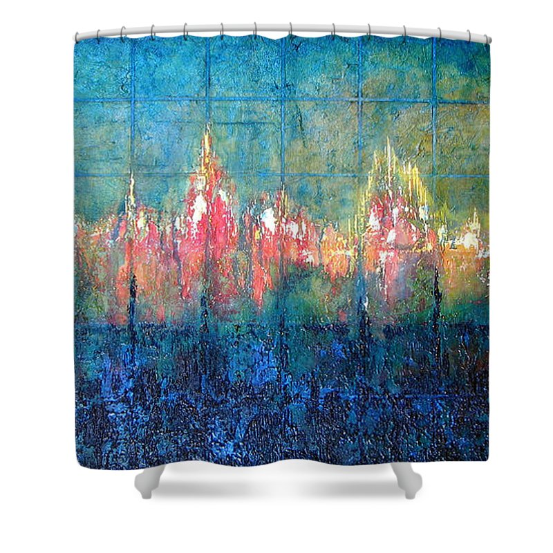 Seascape Shower Curtain featuring the painting Shorebound by Shadia Derbyshire