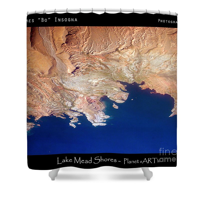 Abstract Shower Curtain featuring the photograph Shores Of Lake Mead Planet Art by James BO Insogna