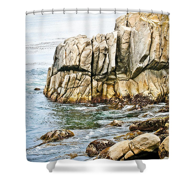 Pebble Beach Shower Curtain featuring the photograph Shores Of Pebble Beach by Marilyn Hunt