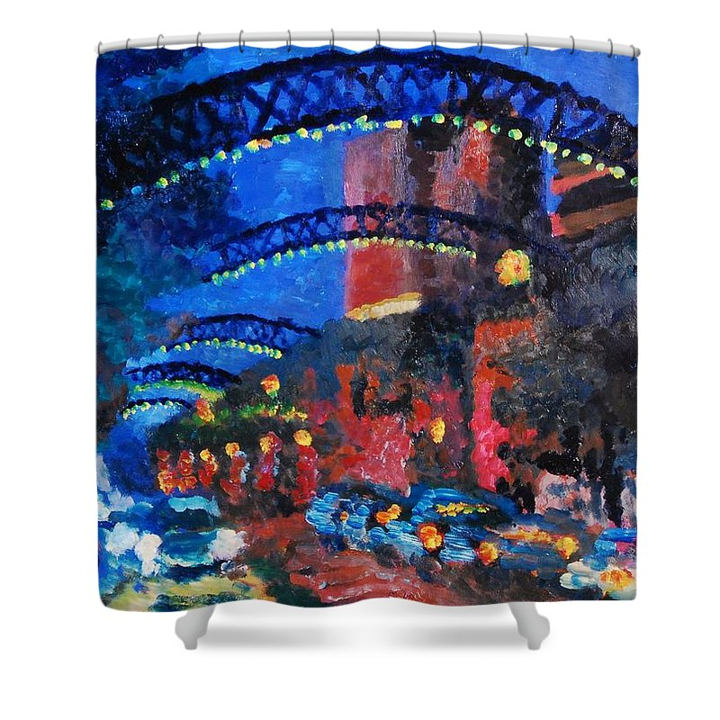 Short North Shower Curtain featuring the painting Short North by Lauren Luna