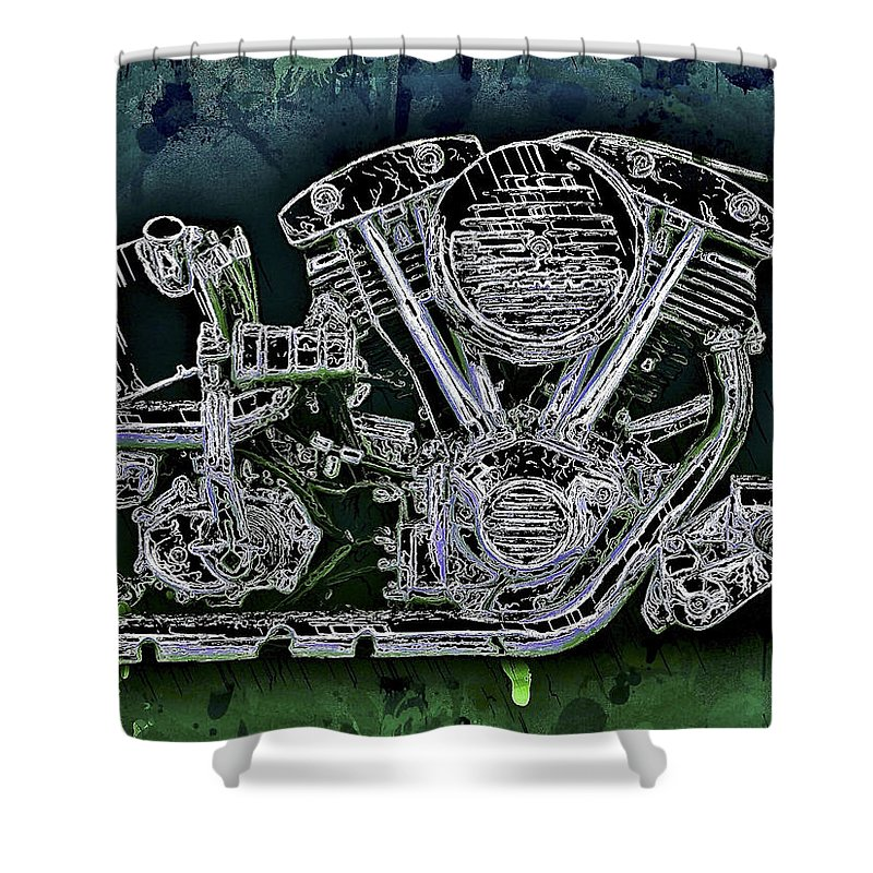 Harley Shower Curtain featuring the mixed media Harley - Davidson Shovelhead Engine by Al Matra