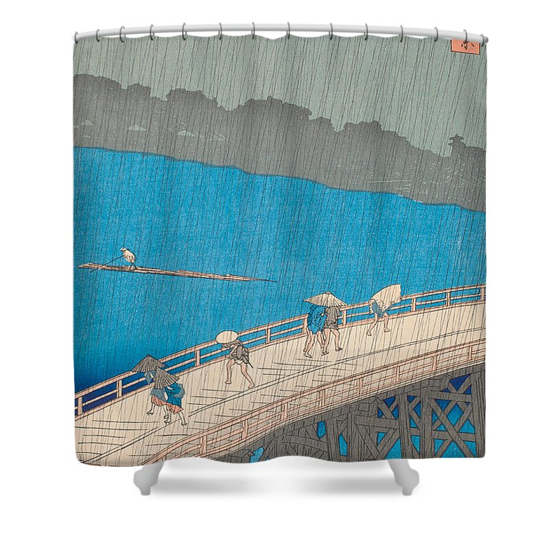 Japan Shower Curtain featuring the painting Shower Over Ohashi Bridge by Hiroshige