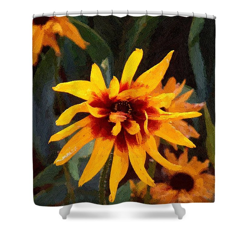 Brown Shower Curtain featuring the greeting card Showoff by RC DeWinter