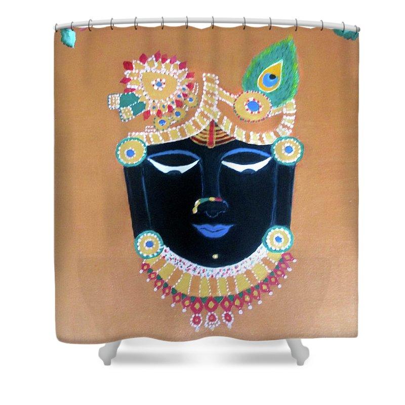 Shreenathji Shower Curtain featuring the painting Shreeji Bawa 2 by Vandna Mehta