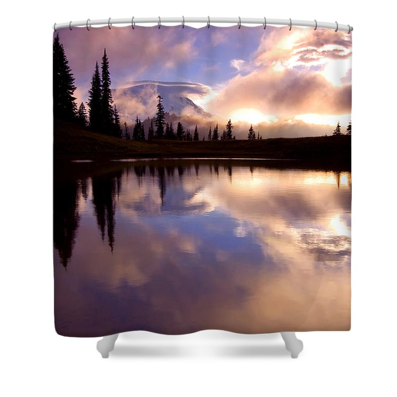 Rainier Shower Curtain featuring the photograph Shrouded In Clouds by Mike Dawson