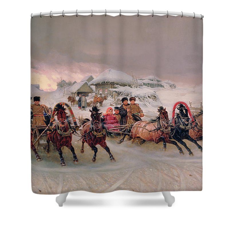 Bal194495 Shower Curtain featuring the painting Shrovetide by Petr Nicolaevich Gruzinsky
