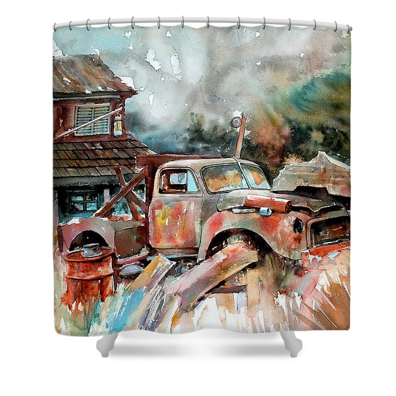 Truck Shower Curtain featuring the painting Shuttered And Cluttered And Gone by Ron Morrison