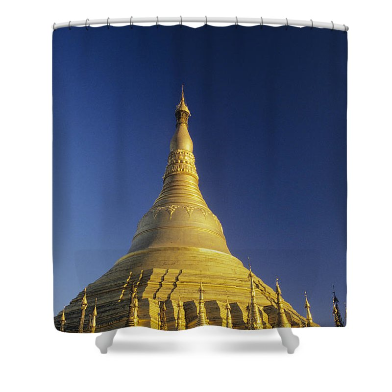 Afternoon Shower Curtain featuring the photograph Shwedagon Paya by William Waterfall - Printscapes