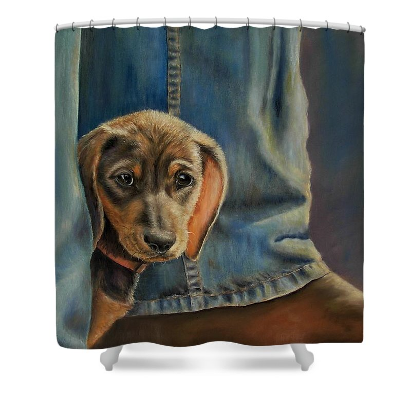 Animal Shower Curtain featuring the painting Shy Boy by Ceci Watson