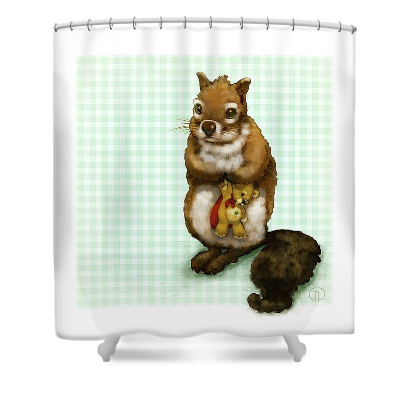 Squirrel Shower Curtain featuring the digital art Shy Squirrel by Catherine Noel