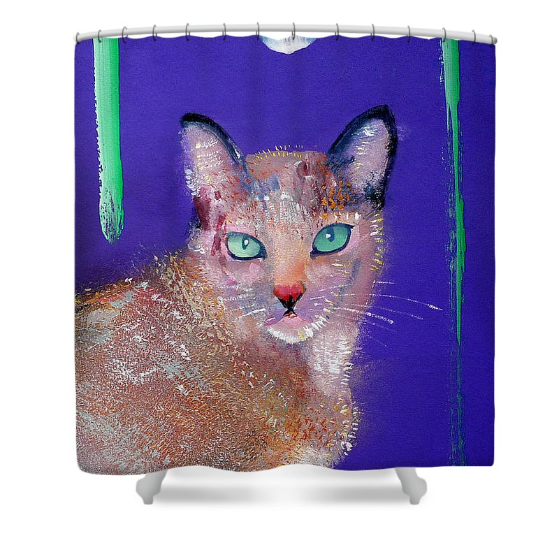 Cat Shower Curtain featuring the painting Siamese Cat by Charles Stuart