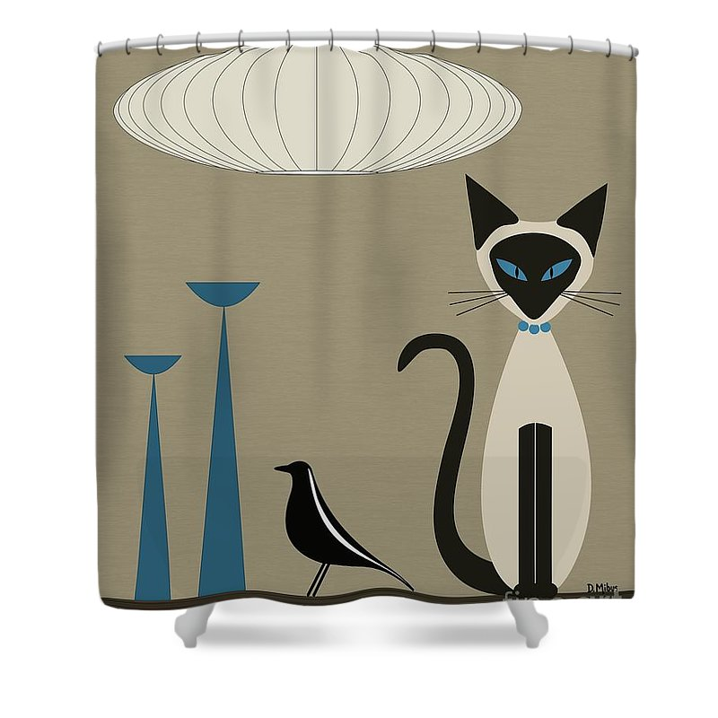 Siamese Cat Shower Curtain Featuring The Digital Art With Eames House Bird By Donna