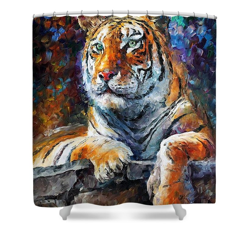 Afremov Shower Curtain featuring the painting Siberian Tiger by Leonid Afremov