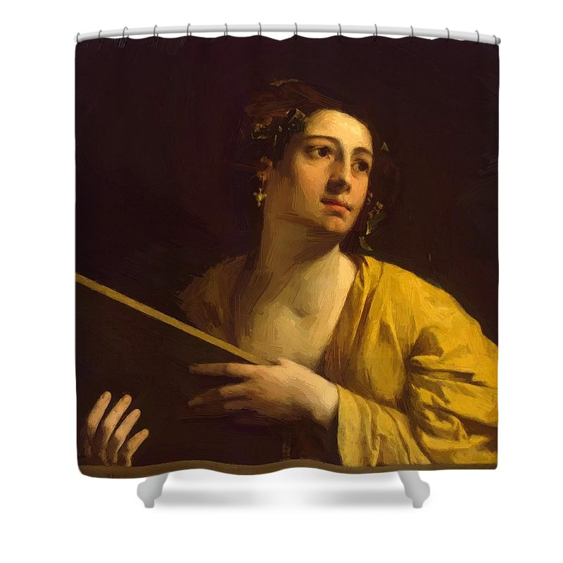 Sibyl Shower Curtain featuring the painting Sibyl 1525 by Dossi Dosso