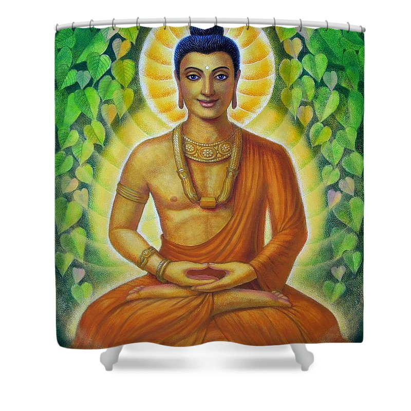 Buddha Shower Curtain featuring the painting Siddhartha by Sue Halstenberg