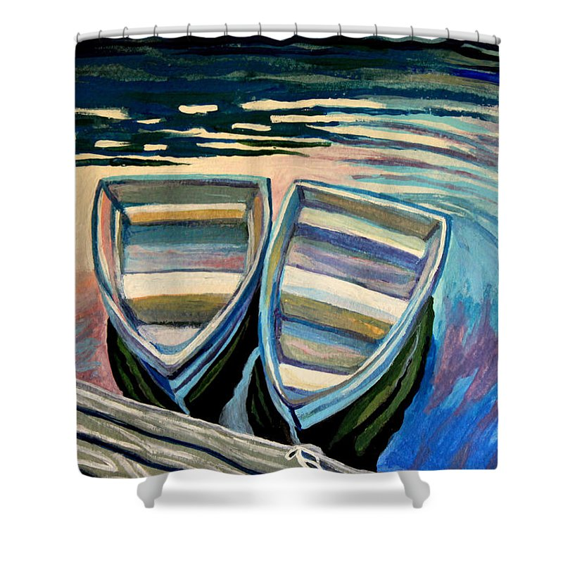 Boat Shower Curtain featuring the painting Side By Side by Elizabeth Robinette Tyndall