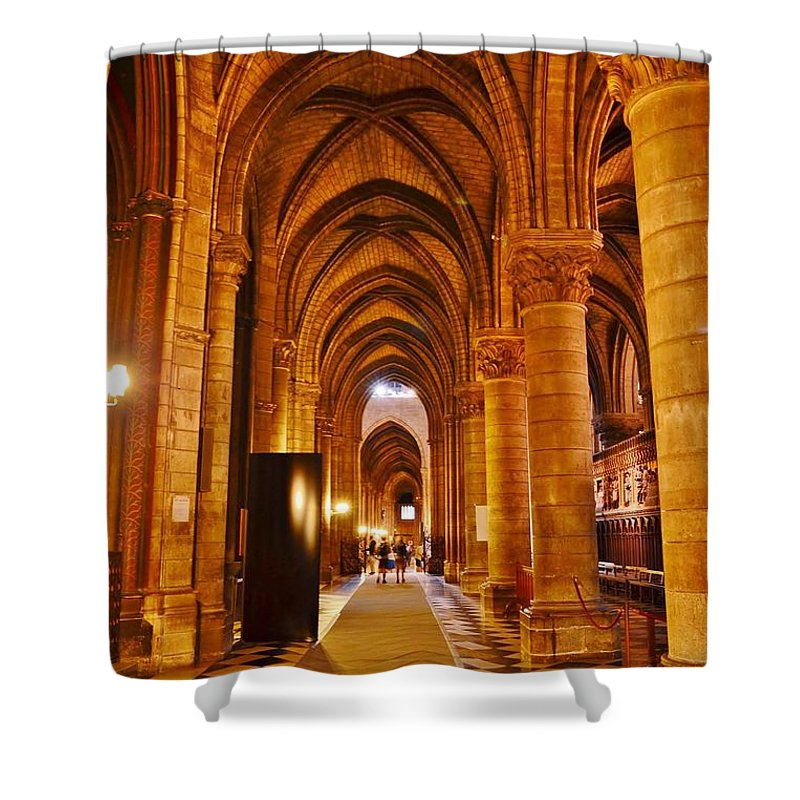 Notre Dame Shower Curtain featuring the photograph Side Hall Notre Dame Cathedral - Paris by Kim Bemis