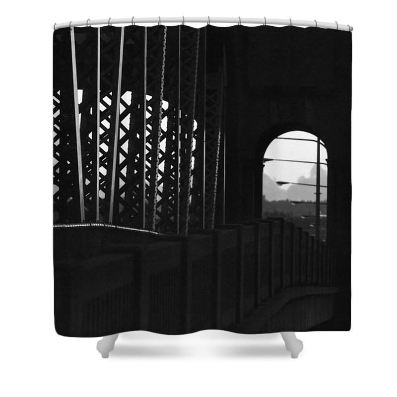 Black And White Shower Curtain featuring the photograph Side Of The Bridge by Lyle Crump