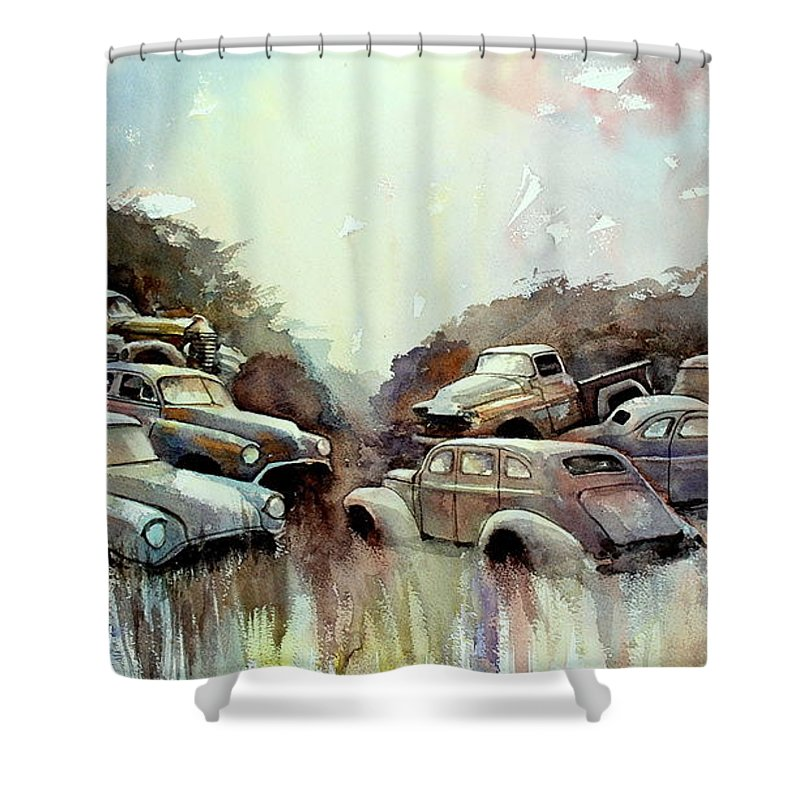 Cars             Trucks Shower Curtain featuring the painting Sidehill Retirees by Ron Morrison