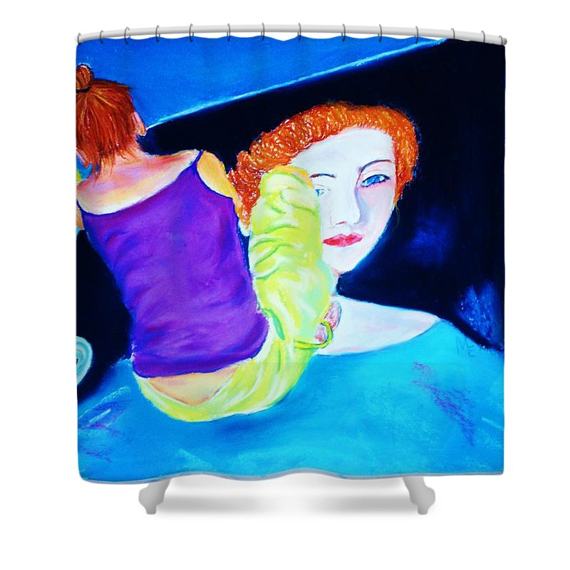 Painting Within A Painting Shower Curtain featuring the print Sidewalk Artist II by Melinda Etzold