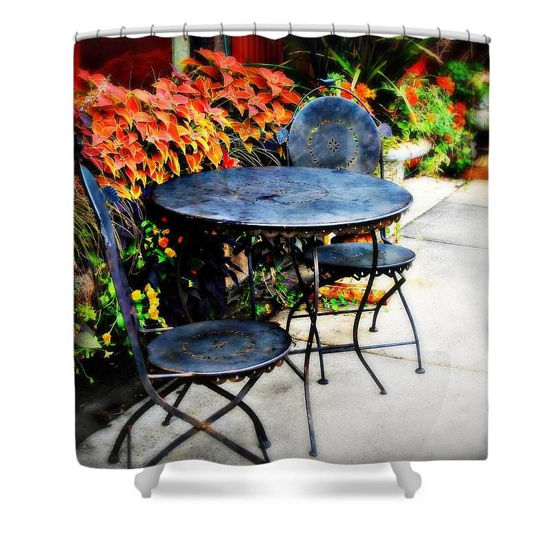 Cafe Shower Curtain featuring the photograph Sidewalk Cafe by Perry Webster