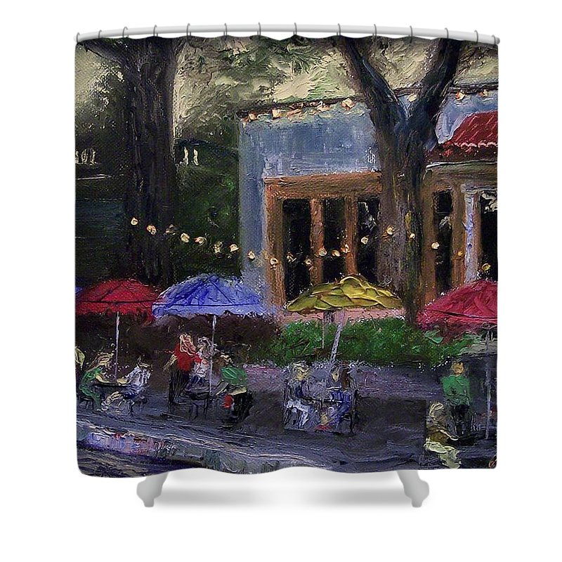 Landscape Shower Curtain featuring the painting Sidewalk Cafe by Stephen King