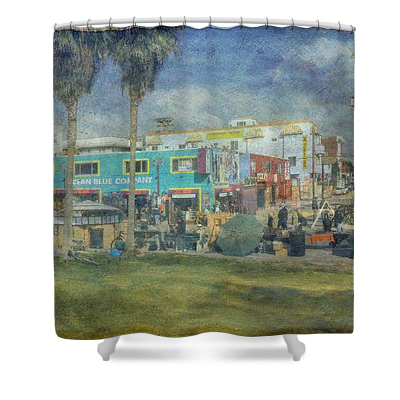 Fine Art Photograph Digital Watercolor Texture Overlay Sidewalk Cafe Venice Ca Panorama Shower Curtain featuring the photograph Sidewalk Cafe Venice Ca Panorama by David Zanzinger