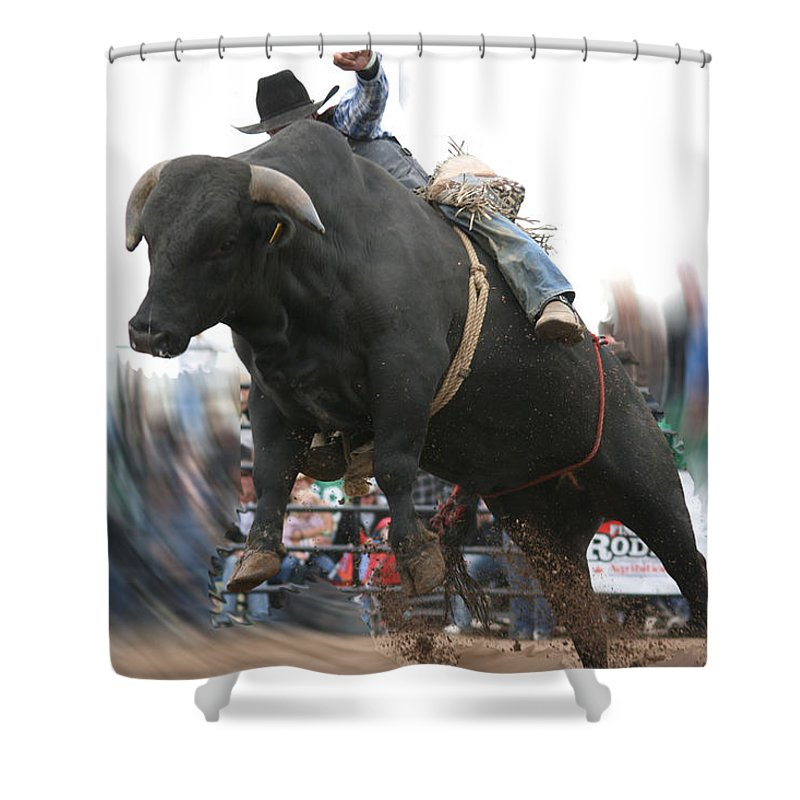 Cowboy Bull Riding Cow Rodeo Falling Entertainment Shower Curtain featuring the photograph Sideways by Andrea Lawrence