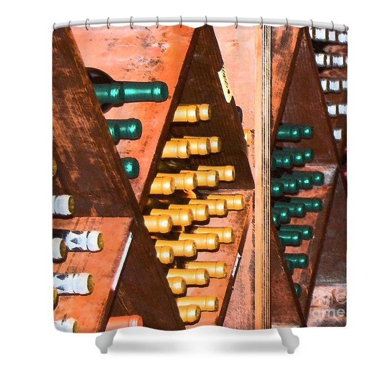 Wine Shower Curtain featuring the photograph Sideways by Debbi Granruth