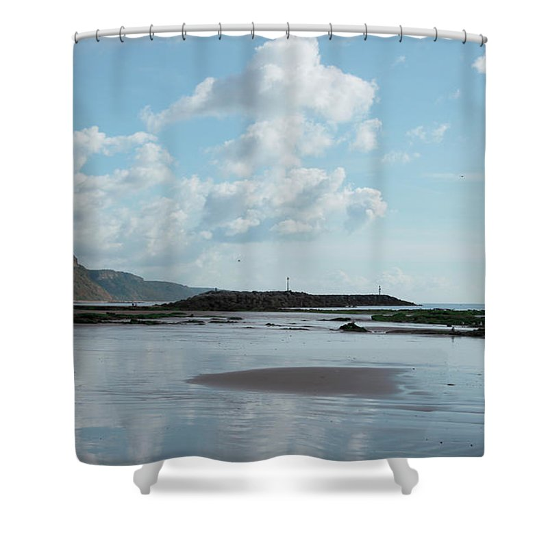 Sea Side Town Shower Curtain featuring the photograph Sidmouth Beach by Mike Finding