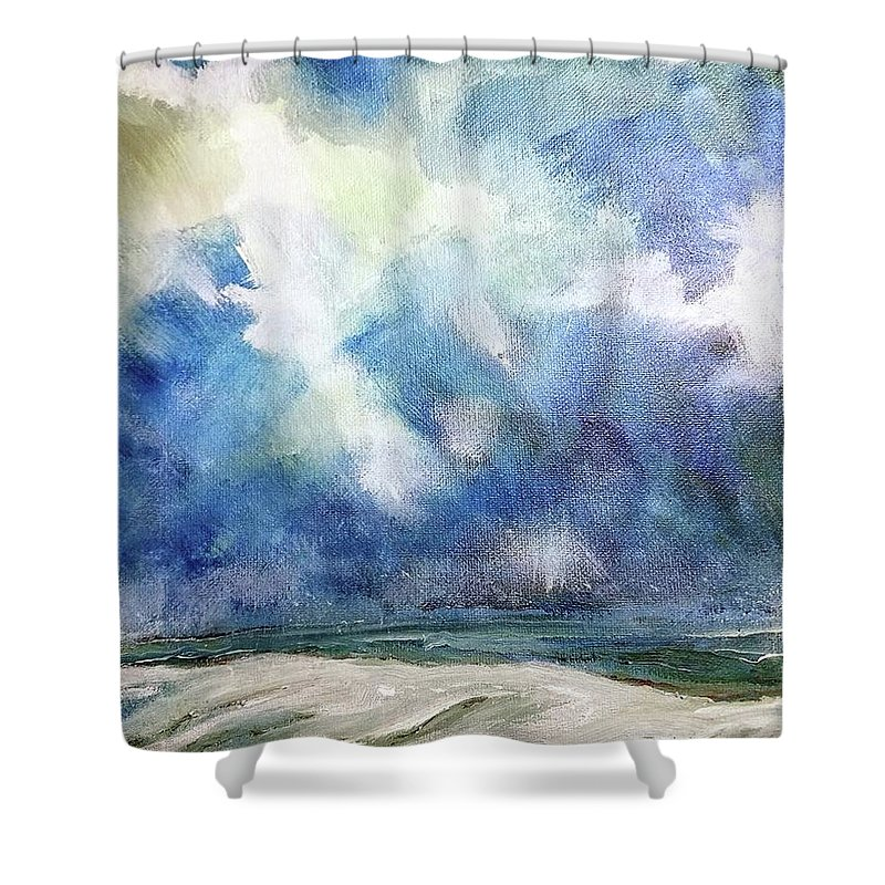 Ocean Shower Curtain featuring the painting Siege Of November by Mark Szwabo