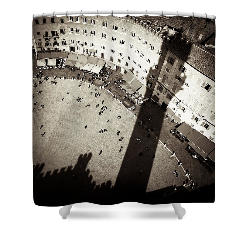 Siena Shower Curtain featuring the photograph Siena From Above by Dave Bowman
