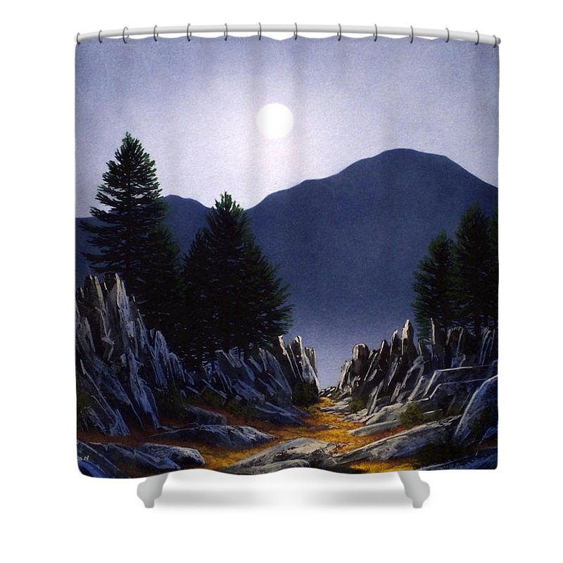 Mountains Shower Curtain featuring the painting Sierra Moonrise by Frank Wilson