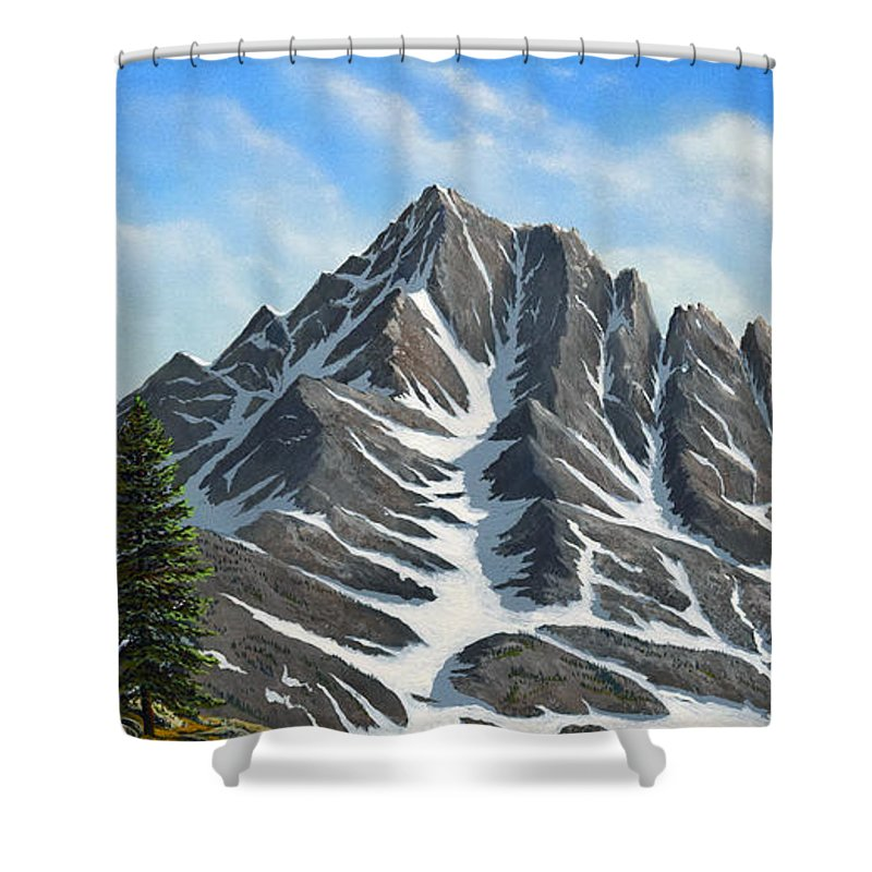 Mountains Shower Curtain featuring the painting Sierra Peaks by Frank Wilson
